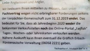 Es gibt bei uns keine Angelkarten ab 2020 für den Marbach Stausee mehr.