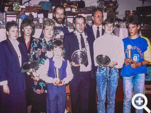 Preisverleihung beim Anglerball beim Häischwirt in Rai-Breitenbach am 19.11.1988.