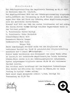 Gründungsprotokoll des ASV Breuberg vom 02.12.1977.