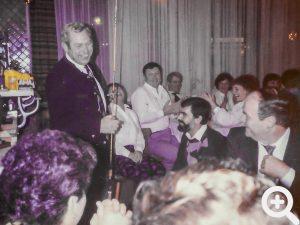 Jahresabschlussfeier im Lamm in Sandbach am 07.12.1985.