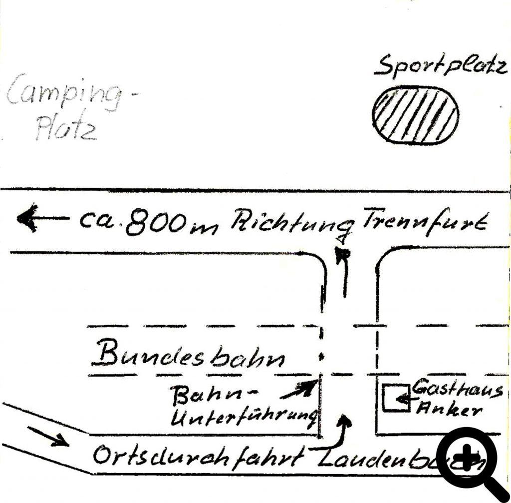 Lageskizze der gepachteten Mainwiese bei Laudenbach am Main