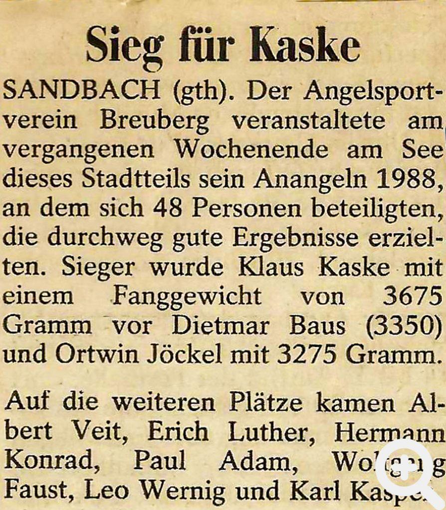 Zeitungsartikel nach dem Anangeln am 20.03.1988