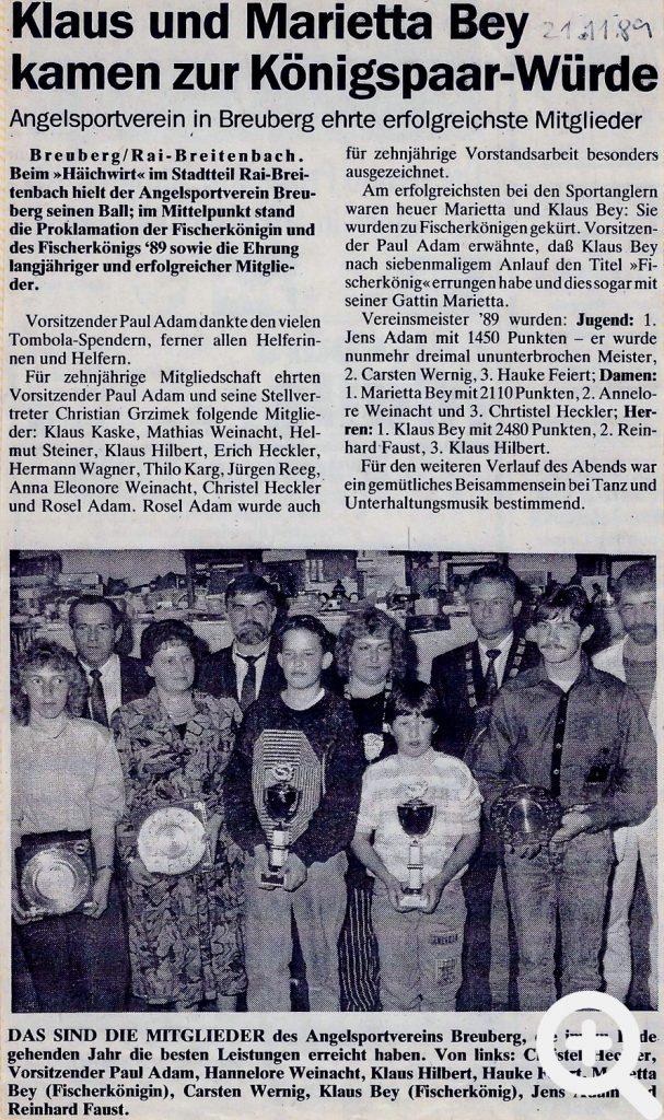Zeitungsartikel zum Anglerball 1989