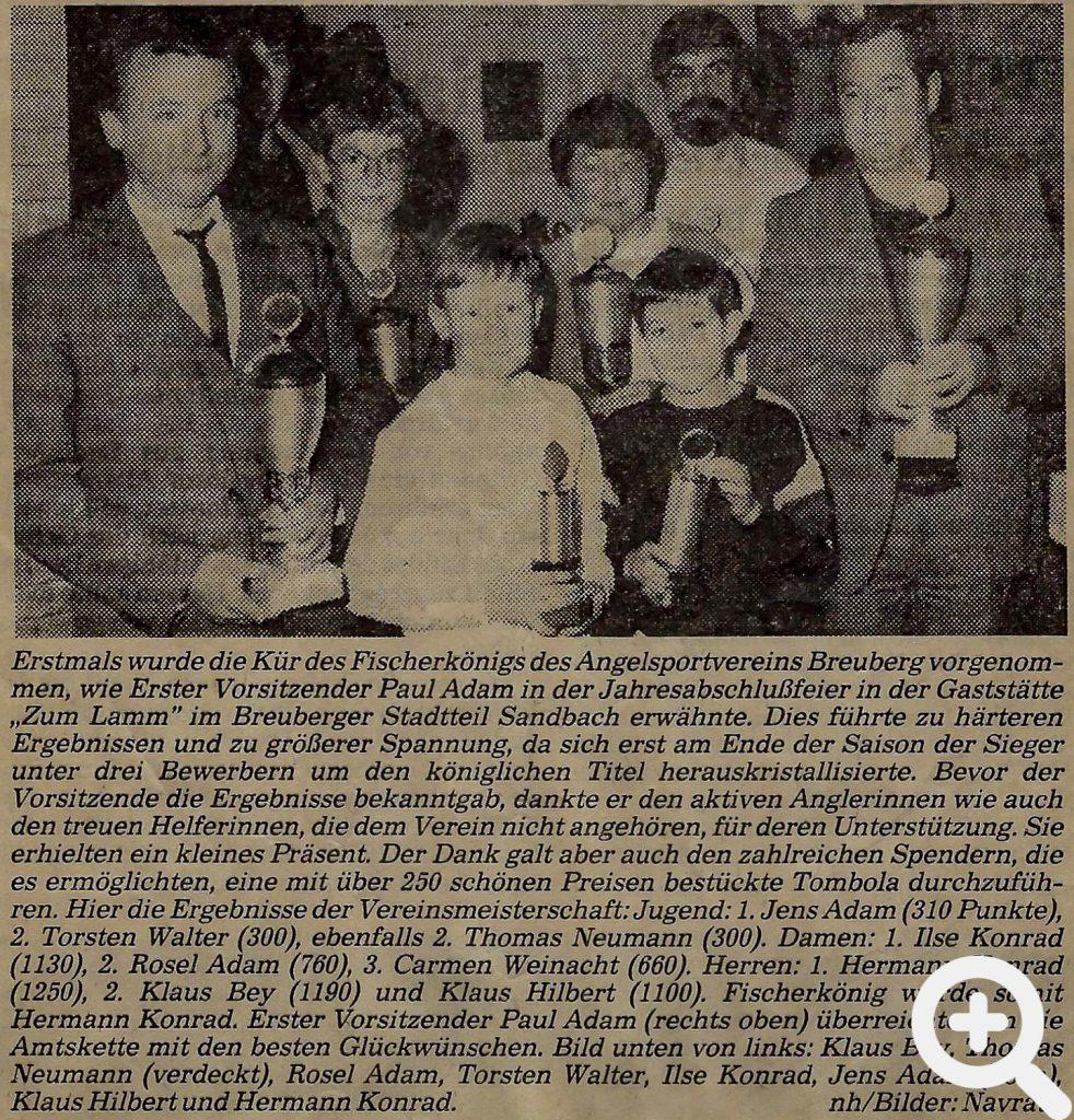 Zeitungsartikel zur Jahresabschlussfeier 1984