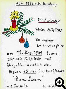farbige Einladung zur Weihnachtsfeier 1981