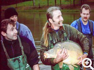 Dieser große Spiegelkarpfen wurde am 19.11.2000 beim Netzzug aus dem See gefischt. Nach dem Wiegen durfte er wieder schwimmen.