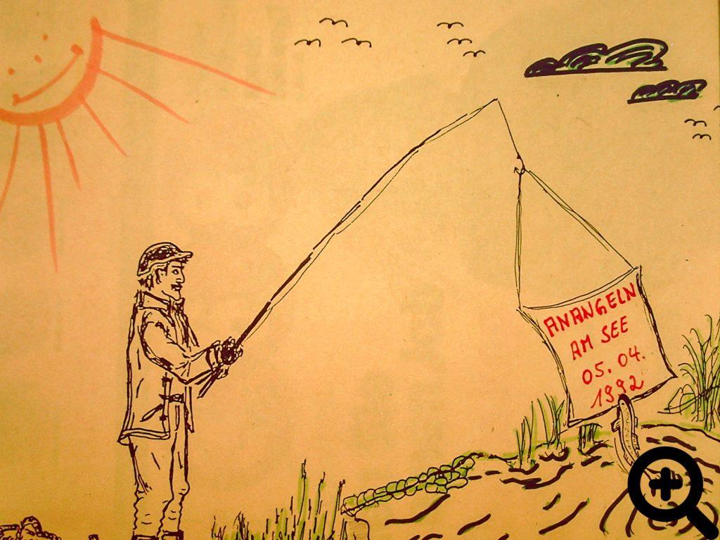 Illustration von Leopold Wernig zu seinen Bildern vom Anangeln am See 1992