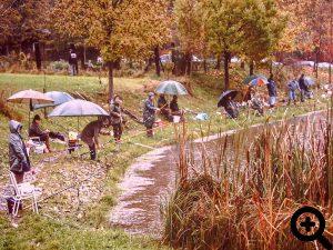 viel Regen beim Abangeln am 25.10.1992