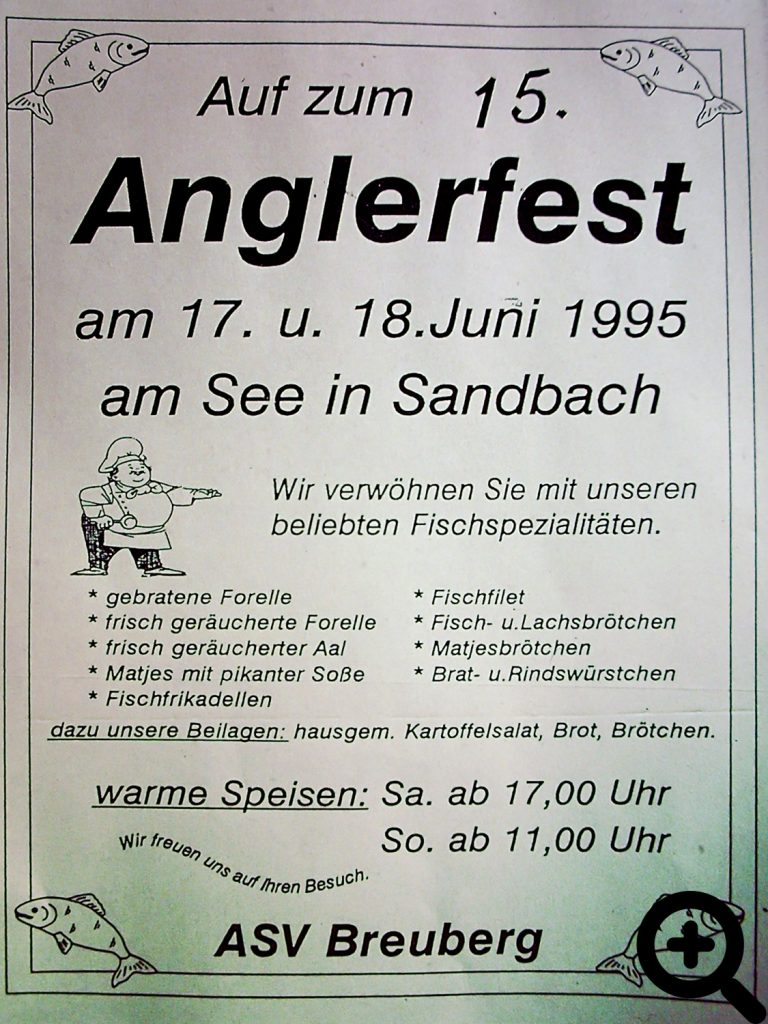 Werbeplakat für das 15. Anglerfest des ASV Breuberg im Juni 1995