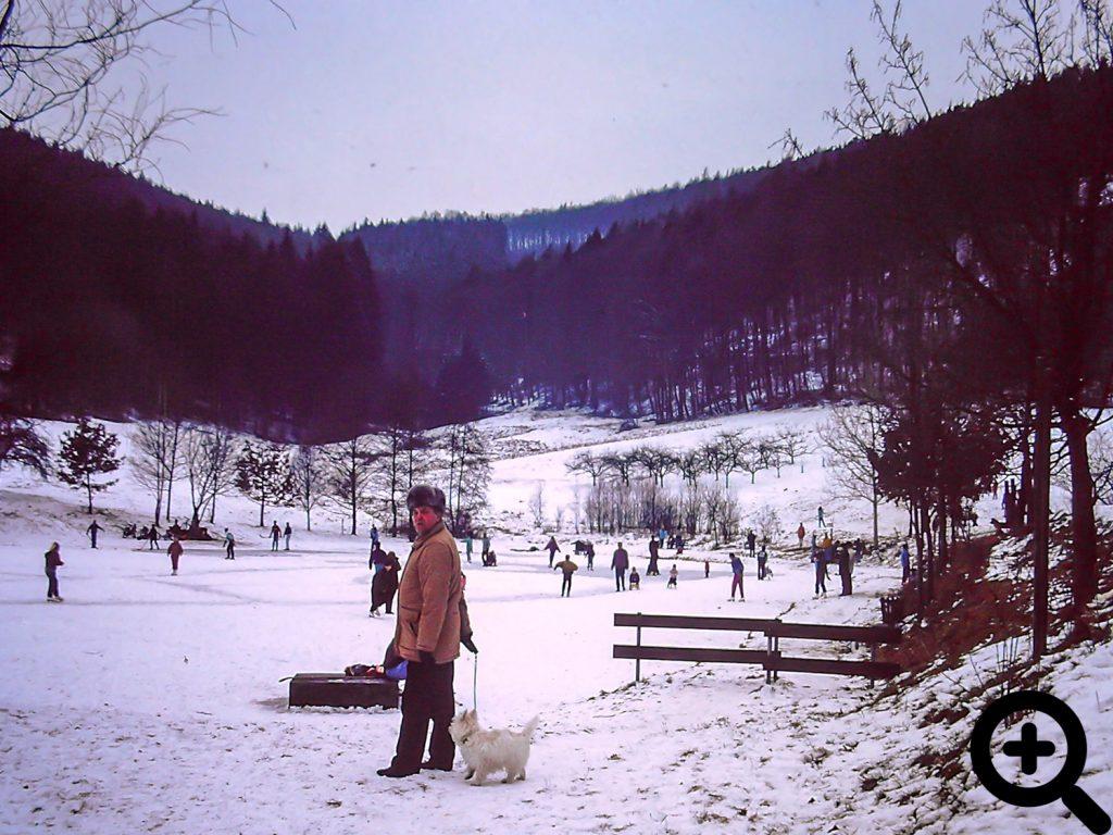 zugefrorener Sandbacher See im Februar 1991
