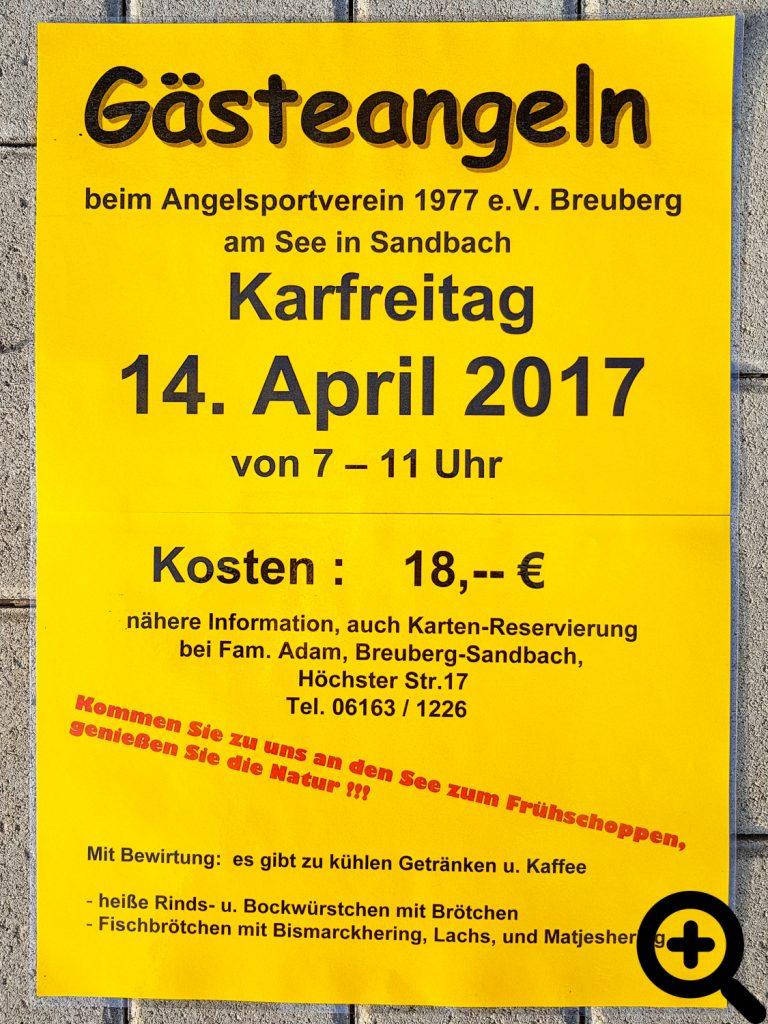Plakat für das Gästeangeln am 14.04.2017