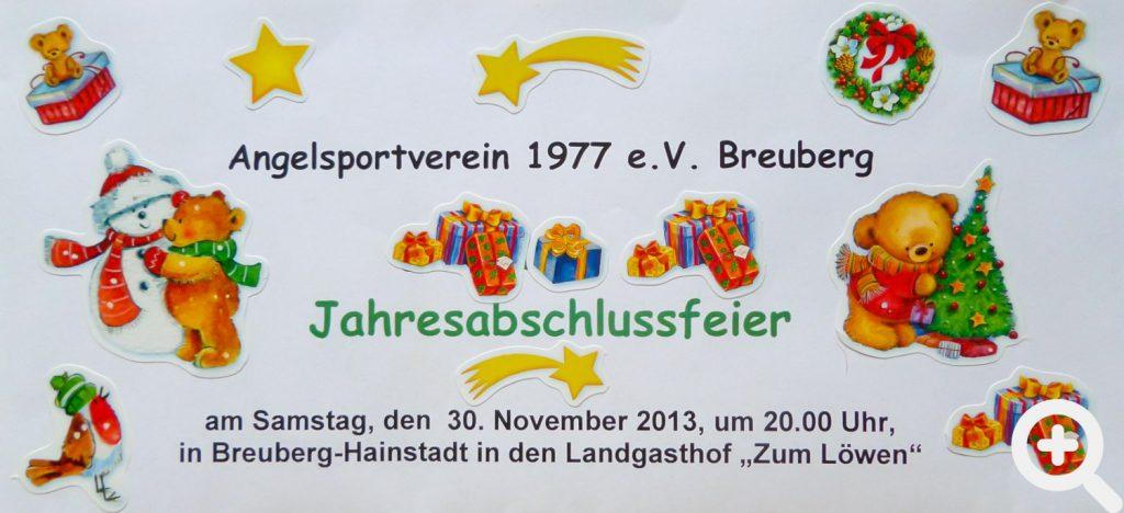 Schön gestaltete Einladung zum Anglerball für den 30.11.2013