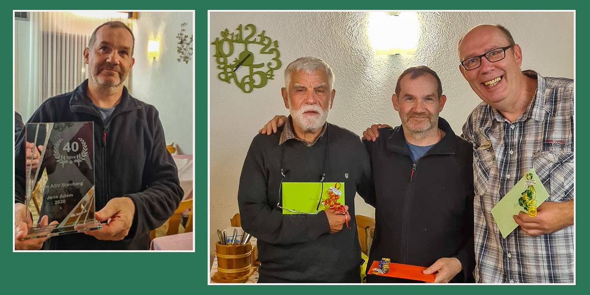 Jens Adam - Fischerkönig 2020 und 40Jahre Mitglied im ASV Breuberg. Klaus Hilbert 2. und Thomas Eismann 3. Platzierte.